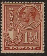 MALTA 1926 1 1/2d Chestnut KGV SG 160 HM VD417 - Malta (...-1964)