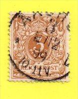 ,, ALLEMAGNE ,, EMPIRE ,, **  3 PFENNIG ** 1889 ,, REICHSPOST ,, CACHET AACHEN 2 . 12. 99  ,,TBE - Germany