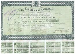 ACCION ANTIGUA - ACTION ANTIQUE = La Electrica De Cataluña 1907 - Acciones & Títulos