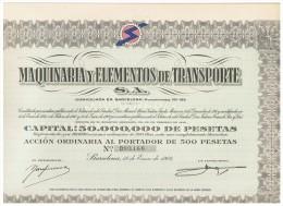 ACCION ANTIGUA - ACTION ANTIQUE = Maquinaria Y Elementos De Transporte 1962 - Acciones & Títulos