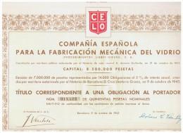 ACCION ANTIGUA - ACTION ANTIQUE = Compañia Española Para La Fabricacion Del Vidrio 1943 - Acciones & Títulos