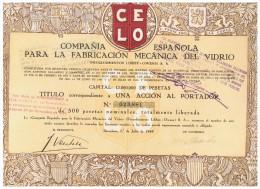 ACCION ANTIGUA - ACTION ANTIQUE = Compañia Española Para La Fabricacion Del Vidrio 1949 - Acciones & Títulos