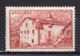 (S0742) FRENCH ANDORRA, 1949 (La Maison Des Vallees, 8 Fr., Brown) Mi # 124. MLH* Stamp - Ungebraucht