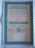 ATELIERS DE MOTOBECANE - CYCLES , MOTOCYCLES - ACTION DE 50 FRANCS - - Chemin De Fer & Tramway