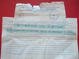 TELEGRAMME - QUIMPER - PROVENANT DE MONTLUCON - LE 27 JUILLET 1947 - - Marcophilie (Lettres)