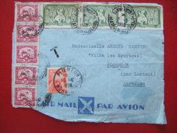 DEVANT DE LETTRE - BEAU DOCUMENT 8 TP D' INDOCHINE + TAXEE EN FRANCE -- DEPOT LE 3/6/1950 - ARRIVE LE 10/6/1950 - Indochine (1889-1945)