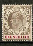 GIBRALTAR 1904-08 1s SG 61a WMK MULTIPLE CROWN CA CHALK-SURFACED  PAPER MOUNTED MINT Cat £55 - Gibraltar