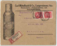 Ernährung, Einschreiben Aus Langewiesen Nach Barcelona 14.9.1927 - Ernährung