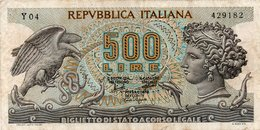 ITALY 500 Lire 1974 XF MERCURY MECHANICAL HORSE P94 - [ 2] 1946-… : Républic
