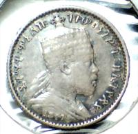 1889(1897),  ETHIOPIA,  HIGHER GRADE, SILVER, 1 GHERSH COIN  **SEE PHOTOS** KEY DATE - Ethiopia