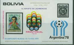 B678N0001 Sucre Football Jeux Olympiques De Montreal Bloc 62 Bolivie 1978 Neuf ** Coupe Du Monde Argentina 78 - Estate 1976: Montreal