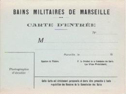 BAINS MILITAIRES DE MARSEILLE CARTE D'ENTREE - Tickets D'entrée