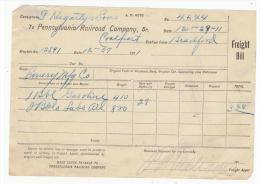 Recibo Antiguo - Pennsylvania Railroad Company 1911 - Estados Unidos