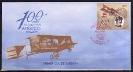 Centenaire Aviation Au Mexique (Pilote Mexicain Alberto Braniff). Avion Voisin. FDC 2010 - Mexique