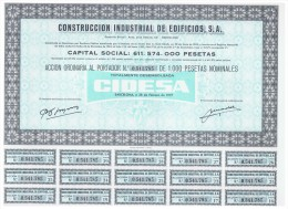 ACCION ANTIGUA - ACTION ANTIQUE = Construccion Industrial De Edificios 1977 CIDESA - Acciones & Títulos
