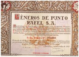 ACCION ANTIGUA - ACTION ANTIQUE = Generos De Punto RAFEL SA 1947 - Sellos En Reverso - Acciones & Títulos