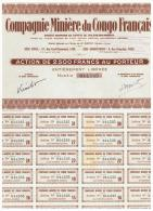 ACCION ANTIGUA - ACTION ANTIQUE = Compagnie Miniere Du Congo Français - Acciones & Títulos