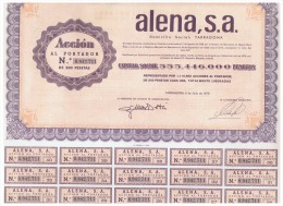 ACCION ANTIGUA - ACTION ANTIQUE = ALENA Tarragona 1976 - Acciones & Títulos
