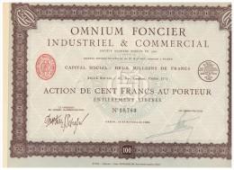 ACCION ANTIGUA - ACTION ANTIQUE = OMNIUM FONCIER - Paris 1923 - Acciones & Títulos
