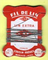 """Cartonnette """" FIL DE LIN - LIN EXTRA """" COUSIN Frères WERVICQ Nord _L90 - Laces & Cloth"""