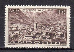 (S0741) FRENCH ANDORRA, 1951 (Andorra La Vella, 15 Fr., Black Brown) Mi # 131. MLH* Stamp - Unused Stamps