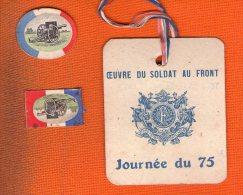 3 INSIGNE CARTON Journee Du 75 - Militari