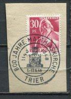 """Franz.Zone Rheinland Pfalz 1948 Mi.Nr.9 U.SST """"Trier-800 Jahre Matthiaskirche  """" 1 Stempelausschnitt - Zone Française"""