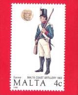 MALTA - Nuovo - 1988 - Uniformi Militari - 4 C - Malta
