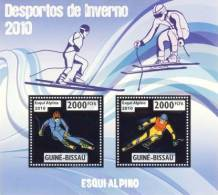 gb10209a-s Guinea Bissau 2010 Winter Olympic Games Alpine Skiing Silver s/s