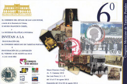 G)2013 MEXICO, POSTAL CARDS MEXICAN 6TH CONGRESS, MEXICAN ARMY CENTENARY STAMP AND CANCELLATION, XF - Mexico