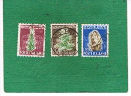 ITALIA REPUBBLICA  -  UNIF. 629.631  - 1950 TABACCO     - USATI° (USED) - 1946-60: Usados