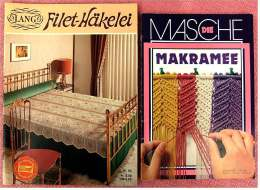 2 Hefte  -  Makramee Anleitung Und Beispiele  +  Filet-Häkelei Mit Musterbogen - Hobbies & Collections