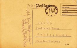Feldpost WW1: Feldartillerie Regiment Nr. 213 (I.Abt.) Dtd Hannover 8.5.1918 - Plain Postcard   (A377) - Militaria