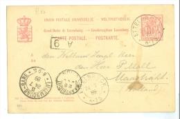 LUXEMBOURG * HANDGESCHREVEN BRIEFKAART Uit 1889 Van ETTELBRUCK LUXEMBURG Naar MAASTRICHT (7865a) - 1859-1880 Wapenschild