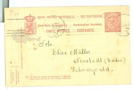 LUXEMBOURG * HANDGESCHREVEN BRIEFKAART Uit 1889 Van LUXEMBURG Naar FRANKFURT Am MAIN (7865b) - 1859-1880 Wapenschild