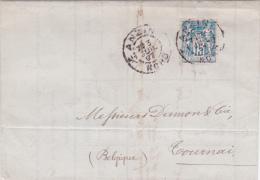 "1897 Lettre SAGE N°101 Obl ""ANZIN NORD"" SEUL  Tarif FRONTALIER Pour TOURNAY Belgique - Postmark Collection (Covers)"