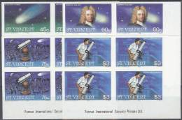 ASTROLOGIA - SAN VINCENTE 1986 - Yvert #913/16 (bloques De 4 Sin Dentar) - MNH ** - Astrologie