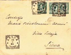 ANQUA / SIENA 1906 - LETTERA TARIFFA RIDOTTA PER IL DISTRETTO - PORTO ESATTO CENT. 15 - L2285 - Storia Postale