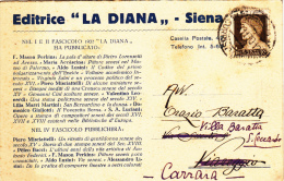 EDITRICE LA DIANA / SIENA 1930 - BIGLIETTO POSTALE PUBBLICITARIO - L2292 - Storia Postale