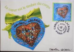 CARTE 1er Jour Le COEUR De Christian LACROIX Paris-Premiére  SOUS BLISTER - 2000-09