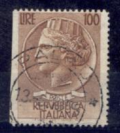 Italia Repubblica 1955 Siracusana Stelle 100 £ Non Dent A Destra Sass.785/If Usato/Used VF - 6. 1946-.. Repubblica
