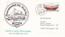"""Schiffspost: Museumsschiff MS """"STADT KIEL"""", Stempel: Kiel 24.12.1990, Mit Glückwünschen Für Das Jahr 1991 - Schiffahrt"""