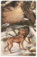 Künstler AK ALFRED SCHÖNIAN  - Jagdhund Und Erlegte Gemse Im Schnee - 1909 Gelaufen - Andere Illustrators