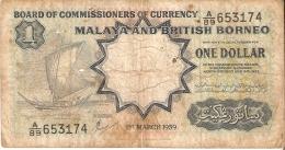 BILLETE DE MALASIA DE 1 DOLLAR DEL AÑO 1959 (BANKNOTE) RARO - Malasia
