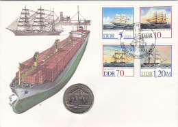 DDR 3198-3201 - Segelschiffe, Auf Numisbrief, 5 MARK, Rostock Überseehafen (Battenberg/Schön Nr. DDR 119) - [ 6] 1949-1990: DDR