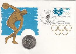 DDR Block 94 - Olympiade Seoul 1988, Auf Numisbrief, 10 MARK, Drei Läuferinnen (Battenberg/Schön Nr. DDR 120) - [ 6] 1949-1990: DDR