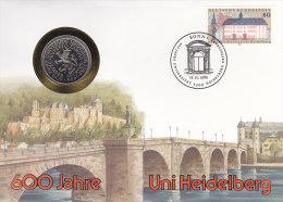 BRD 1299 - 600 J. Uni Heidelberg 1986 Auf Numisbrief, 5 DM, 600 J. Uni Heidelberg (Battenberg/Schön BRD 163) - [10] Gedenkmünzen