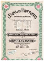 ACCION ANTIGUA - ACTION ANTIQUE = L'Union Des Pepeteries  1944 - Acciones & Títulos