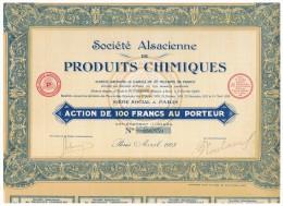 ACCION ANTIGUA - ACTION ANTIQUE =  Societé Alsaciene Produits Chimiques  1928 - Acciones & Títulos