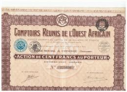 ACCION ANTIGUA - ACTION ANTIQUE = Comptoirs Reunirs De L'Ouest Africain  1929 - Acciones & Títulos